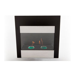 "EcoPyro AF-04 Whistler Wall Hanging Ethanol Fireplace 23 5/8"", Stainless Steel/ - A stately, compact wall hanging fireplace. With balanced design, Whistler occupies a small footprint on the wall. Whistler features a Matte Black back panel that attaches directly to the wall. The fireplace body is decorated in brushed stainless steel and hovers 3/4″ off the back panel. Whistler is powered by 2 round 500 ml burners. The tempered glass front features a stainless steel decorative band at the top. A well balanced fireplace in a relatively compact package. Hangs in a similar method to a piece of art, directly on the wall, no cutting or inserting modifications of the wall are required."