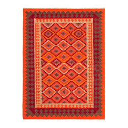 Jaipur Rugs - Flat-Weave Tribal Pattern Wool Orange/Red Area Rug - Traditional kilims are given a modern twist with these bright fun flatweaves. Hand woven in 100% wools these rugs are reversible and durable. Origin: India