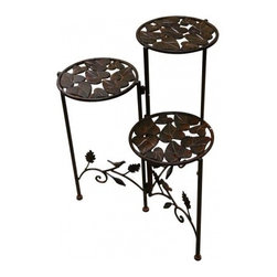 "Alpine Corporation - 23"" Tall Metal Plant Stand - If you live in a rather cramped up space say for example, a studio, and you badly want your own garden, you don't have to worry about the space anymore. Who says you need a big space to grow a garden? With a few minor alterations, you can have your own collection of potted plants in your balcony or patio, and you don't have to worry about them taking up too much space. That's why we have the 23' Tall Metal Plant Stand. With 3 tiers to hold 3 different potted plants, you'll surely be happy with this space-saver. And not only that ' as opposed to the usual plant stands that have no design incorporated into them whatsoever, this stand boasts of its own style. Without going too overboard or being too simple, this plant stand has geometric patterns that definitely keeps in style with the theme of your mini-garden. You have the option of which plants to put on this stand ' you can even put more than 3 pots if they aren't that big. Just remember to put them in area that gets a considerable amount of sunlight."