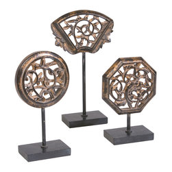 Ethan Allen - Set of Three Replica Panels - Ornate designs and intricate cutouts are what draw the eye to these tabletop gallery pieces. Three different heights and silhouettes give the globally-inspired art geometric significance. Made of dusty, antiqued gold resin atop black metal bases.
