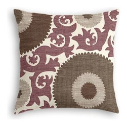 Purple & Gray Giant Suzani Custom Throw Pillow - The every-style accent pillow: this Simple Throw Pillow works in any space.  Perfectly cut to be extra fluffy, you'll not only love admiring it from afar but snuggling up to it too! We love it in this oversized suzani of sunbursts and flames swirling in plum, gray and taupe on heavy basketweave cotton.  A statement for spaces modern, boho, and eclectic alike.