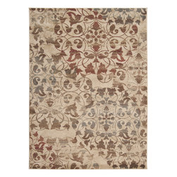 "Surya - Riley Rug RLY-5009 - 5'3"" x 7'6"" - Both a bold zig-zag pattern and traditional organic pattern define the rugs in the Riley collection from Surya. While the zig zag pattern is a modern take on the traditional southwest style, the floral pattern of classic style is given a fresh perspective, combining it with geometric sections of different background colors. The Neural browns, tans and grays are delightfully balanced with a pop of cinnamon spice for added interest. Each rug is machine made in Turkey from 1% polypropylene."