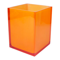 """Jonathan Adler - Jonathan Adler Hollywood Waste Basket Orange - Jonathan Adler's contemporary Hollywood wastebasket energizes bathrooms with the designer's """"happy chic"""" aesthetic. Finished in opaque orange acrylic, this rectangular can keeps trash corralled in edgy style. 6.25""""W x 9.25""""H; Acrylic"""