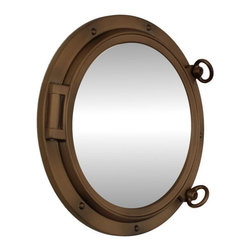 "Handcrafted Nautical Decor - Bronzed Porthole Mirror 15"" - Beach Theme - This Bronzed Porthole Mirror 15"" adds sophistication, style, and charm for those looking to enhance rooms with a nautical theme. This boat porthole has a sturdy, heavy and authentic appearance, yet it is made of wood and fiberglass to lower the weight for use as nautical wall decor. This porthole mirror makes a fabulous style statement in any room with its classic round frame, five solid rivets and two dog ears surround the perimeter of the porthole frame."