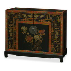 China Furniture and Arts - Hand Painted Tibetan Chest - The ornate style of this elegant two door chest is adopted from Tibetan artwork. Providing roomy storage space, this piece looks and functions great in the dining room, foyer or library. Antique brass finish door pulls are in unity with the entire work. Removable shelf behind the doors for your convenience. Perfect as a sideboard in the dining room or media cabinet in the living room (cable outlets can be made upon request).