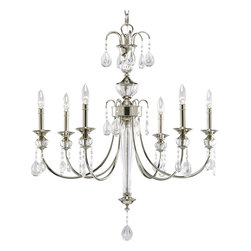 Progress Lighting - Progress Lighting P4209-104 6-Light Chandelier with Clear Crystal Glass Drops - Progress Lighting P4209-104 6-Light Chandelier with Clear Crystal Glass Drops with Teardrop Element