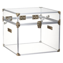 Mod Locker - A trunk is such a unique statement piece for storage or for a table. The Lucite gives this one a modern edge, and you can easily see all its contents.