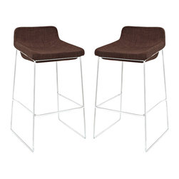 Modway - Garner Bar Stool Set of 2 EEI-1364 Brown - Benefit from the comfort of a lounge chair in this barstool made to please. Garner features a chrome plated aluminum frame and generously padded foam seat with upholstered fabric to keep you coming back for more. The deep-seated design and supportive backrest make this a modern piece that both looks and feels great. Garner also comes with a well-positioned footrest to help prevent slouching.