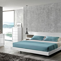 J&M Amora Bedroom in White Lacquer Finish - Modern Style Bedroom Set