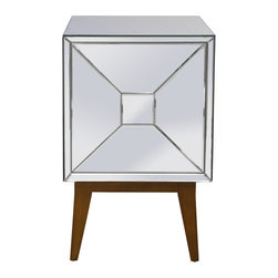 Worlds Away - Worlds Away Right Opening Mirrored Nightstand MARTIN R - Mirrored right opening nightstand on wood mid century base.