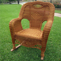 International Caravan - International Caravan Resin Wicker Indoor/Outdoor Rocker - This resin wicker rocking chair features a durable hand-woven design that comfortably fits most adults. Enjoy the outdoors relaxing on your porch,patio,or balcony with this sturdy aluminum frame rocker.