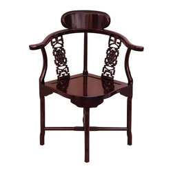 Oriental Furniture - Rosewood Corner Chair - Rosewood - An exceptionally well crafted, fine Chinese Rosewood corner chair, finished in a beautiful dark Cherry wood stain. The delicate design belies exceptional sturdiness and stability, uniquely shaped to fit perfectly into a corner. These are fine quality decorative chairs, often displayed in pairs.