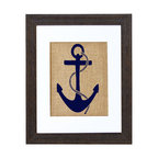 Fiber and Water - Nautical Anchor Art - Popeye would approve of this nicely nautical print. A bold blue anchor, printed in Maine with water-based inks on natural burlap, makes a simple yet stylish statement in your beach house or wherever you wish to show your fondness for the sea.