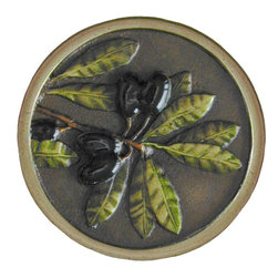 """Inviting Home - Olive Branch Knobs (hand-tinted brass) - Hand-cast Olive Branch Knob in hand-tinted brass finish; 1-1/4"""" diameter; Product Specification: Made in the USA. Fine-art foundry hand-pours and hand finished hardware knobs and pulls using Old World methods. Lifetime guaranteed against flaws in craftsmanship. Exceptional clarity of details and depth of relief. All knobs and pulls are hand cast from solid fine pewter or solid bronze. The term antique refers to special methods of treating metal so there is contrast between relief and recessed areas. Knobs and Pulls are lacquered to protect the finish. Alternate finishes are available."""