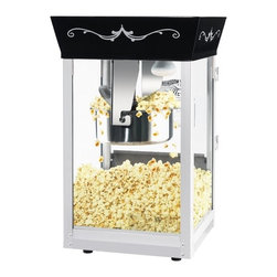 """Great Northern Popcorn - Matinee Movie 2 Gallon Bar Style Popcorn Machine - Features: -Popcorn machine.-Tempered glass.-Makes roughly 2 gallons of popcorn per batch.-Warming light and kernel catcher.-Eight ounces kettle.-Includes reject kernel tray, kernel, oil scoop and popcorn scoop.-Heavy duty powder coated stainless steel construction.-Black finish.-Product Type: Theater style machine.-Collection: Matinee.-Color: Black.-Distressed: No.-Powder Coated Finish: No.-Gloss Finish: No.-Material: Metal -Material Details: Steel..-Non-Stick Surface: No.-Run Time: 3-5 Minutes.-Warmer Light: Yes.-Tempered Glass: Yes.-Wheels: Yes.-Wattage: 640 W.-Voltage: 110 V.-Kettle Included: Yes -Kettle Material: Steel.-Pivoting Kettle: Yes.-Removable Kettle: Yes.-Kettle Capacity: 8 oz..-Bags/Buckets Included: Yes -Number of Bags/Buckets: 28.-Bag/Bucket Material: Paper; Plastic.-Bag/Bucket Capacity: 60 oz..-Scoop Included: Yes -Measuring Scoop: No..-Measuring Spoon Included: Yes.-Built In Stirring System: Yes.-Warming Deck: Yes.-Supply Storage: Yes.-Reject Kernel Tray: Yes.-Commercial Use: Yes.Specifications: -Three position control switch.-Works on standard 110 volt, 640 watts.-ETL Certified: Yes.Dimensions: -Overall Height - Top to Bottom: 53"""".-Overall Width - Side to Side: 21"""".-Overall Depth - Front to Back: 16.5"""".-Overall Product Weight: 60 lbs.Assembly: -Assembly Required: Yes.-Additional Parts Required: No.Warranty: -Product Warranty: 5 years for parts / 30 days for kettles and bulbs."""