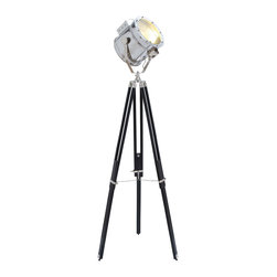 Casa Cortes - Movie Studios Decorative Floor Prop Lamp with Tripod - Inspired by a Hollywood movie set, this impressive decorative floor lamp is designed to look like a classic search light. Constructed to include a tripod stand and silver studio light, this lamp is ideal for modern and eclectic spaces.