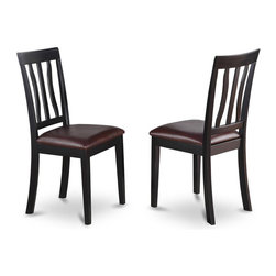 East West Furniture - Dinette Chair in Black Finish- Set of 2 - Set of 2. Chairs with faux leather upholstered seat. Solid wood frame with slatted back. Made from 100% Asian solid wood. Made in Vietnam. Assembly required. Seat height: 18 in.. Overall: 18 in. W x 17 in. D x 38.5 in. H (37 lbs.)