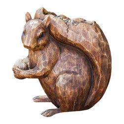 Evergreen Enterprises - Squirrel Birdfeeder Statuary - Tree Face Feeder with keyhole on back for hanging, Polystone.