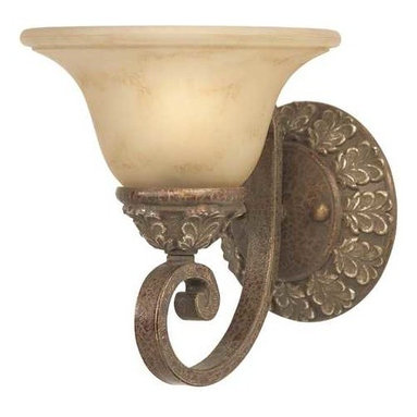 Dolan Designs Lighting - Single-Light Sconce - 1825-38 - This exquisite sconce brings a touch of elegance to any room. The circular backplate features a pattern of golden leaves, which is replicated along the base of the shade. A beautifully curved arm supports the bell-shaped shade, and warm light radiates through the frosted glass to create a soft glow. Takes (1) 60-watt incandescent G16.5 bulb(s). Bulb(s) sold separately. UL listed. Dry location rated.