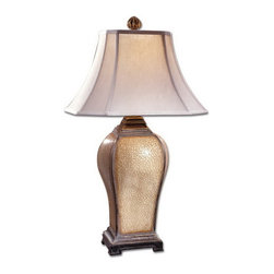 Uttermost - Uttermost 27093  Baron Ivory Table Lamp - This handsome lamp is finished in an ivory porcelain crackle with a semi transparent brown glaze and distressed warm silver accents. the square bell shade with clipped corners is hand sewn linen.