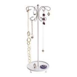 Necklace Holder Organizer - Ava Jewelry Tree - The Ava Jewelry Tree was specifically designed for long necklaces, bracelets, long and extra long hook dangle pierced earrings.   Available in Black, Rubbed Bronze and Satin Nickel Silver.