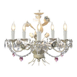 White Iron Crystal Chandelier Lighting with Pink Crystal Hearts & Shades - This beautiful Chandelier is trimmed with Empress Crystal(TM). Item must be hardwired. Professional installation is recommended. Requires (5) 40 watt bulbs - not included