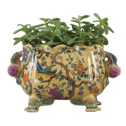 Oriental Danny - Hand painted porcelain planter - Hand painted porcelain planter in bold colors and design.