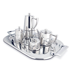 Cuisinox - 5 Pc Coffee and Tea Set - Serve espresso coffee and tea in grand style with this luxurious stainless steel ensemble from Cuisinox. The set consists of a 6 cup espresso maker, a 20 oz teapot, a creamer, a sugar bowl and a tray. The perfect gift for that special somebody who has it all. Also makes a perfect house warming gift.