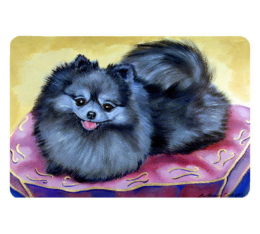 Caroline's Treasures - Pomeranian Kitchen Or Bath Mat 20X30 - Kitchen or Bath COMFORT FLOOR MAT This mat is 20 inch by 30 inch.  Comfort Mat / Carpet / Rug that is Made and Printed in the USA. A foam cushion is attached to the bottom of the mat for comfort when standing. The mat has been permenantly dyed for moderate traffic. Durable and fade resistant. The back of the mat is rubber backed to keep the mat from slipping on a smooth floor. Use pressure and water from garden hose or power washer to clean the mat.  Vacuuming only with the hard wood floor setting, as to not pull up the knap of the felt.   Avoid soap or cleaner that produces suds when cleaning.  It will be difficult to get the suds out of the mat.