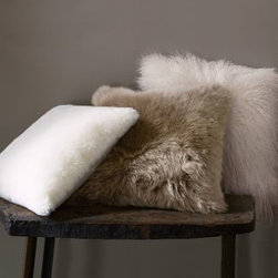"Garnet Hill - Sheepskin Pillow Cover White - In an inviting blend of authentic Australian sheepskins, in short or long lengths, this snuggle-up pillow cover is a great way to add plush texture and coziness to any room. Backed in microsuede, with a zipper closure. Pillow Insert is sold separately. Australia.  White (short hair): 20"" x 20"" Smoke (long hair): 22"" x 22"" Ivory (long wavy hair): 20"" x 20"""
