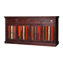 "Sierra Living Concepts - Federal Reclaimed Wood Fire-Striped Sideboard Buffet Cabinet - We mixed traditional style with a splash of dramatic color in our Fire-Striped Buffet. This hand crafted large 82"" cabinet has four top drawers and two large 2-shelf cupboard spaces that open with double doors."