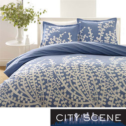 None - City Scene Branches French Blue 3-piece Comforter Set - Make your contemporary bedroom more appealing with this pretty, three-piece comforter set from City Scene. It features a clean look that combines outdoor beauty and modern style. The French, blue cotton set is machine washable for convenience.