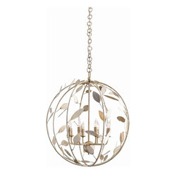 "Arteriors - Hue Chandelier - This six light spherical cage chandelier is comprised of iron leaves that have been leafed in a champagne coloration. Guaranteed to add an organic, elegant touch to a dining room or entry. Shown with clear bent tip candelabra bulbs.  Takes 6 - 25 w bulbs.  Chain: 36""  Cord: 120"""