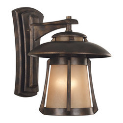 "Kenroy Home - Asian Themed 3 Light Outdoor Wall Sconce Laguna Collection - Laguna Outdoor Wall LanternFeatures Frosted Amber Seeded GlassExtends: 17""3-60w Max Candelabra Base (Bulb(s) Not Included)"