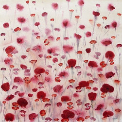 """""""Poppy Field"""" Artwork - Original large red floral painting of some poppies in a field bringing some summer into your home."""