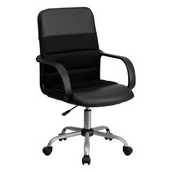 Flash Furniture - Mid-Back Black Mesh & Leather Chair - This value priced mesh office task chair will accommodate your essential needs for your home or office. Chair is upholstered in mesh material with leather accents that produces excellent comfort.
