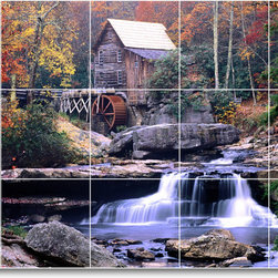 Picture-Tiles, LLC - Waterfalls Picture Ceramic Tile Mural W034 - * MURAL SIZE: 24x40 inch tile mural using (15) 8x8 ceramic tiles-satin finish.