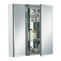 "KOHLER - KOHLER K-CB-CLC2526FS Double Door 25""W x 26""H x 5""D Aluminum Cabinet with Square - KOHLER K-CB-CLC2526FS Double Door 25""W x 26""H x 5""D Aluminum Cabinet with Square Mirrored DoorThis mirrored cabinet features a 1/2"" beveled frameless door that can be installed with a left or right hinge. Inside, two adjustable 1/4"" glass shelves hold all your toiletries and bath items. Rust-free aluminum construction ensures years of use. A side kit is included for recess- or surface-mount installations.KOHLER K-CB-CLC2526FS Double Door 25""W x 26""H x 5""D Aluminum Cabinet with Square Mirrored Door, Features:• 25""W x 26""H x 5""D Silver aluminum cabinet"