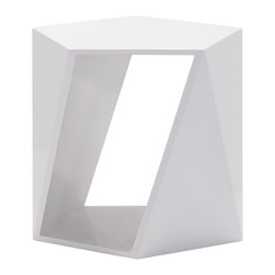 Zuo Modern - Titan Side Table - The Titan Side Table is geometric with modern appeal. The pentagonal shape of this unique side table is accentuated by it's clean white lacquered finish. Use the Titan Side Table as a one of a kind accent table. Or group two or more together for a modular coffee table. The Titan can also serve as a modern stool or ottoman. This dimensional design will be a functional and appealing addition to your contemporary home or office.