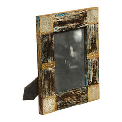 Sierra Living Concepts - Rustic Hand Carved Solid Wood & Brass Table Top Photo Picture Frame - Special photos deserve special treatment. Our Rustic Table Top Frame is filled with hand crafted details. A delicate four petal flower is etched into each corner and geometric bars are placed on either side. These golden details add contrast to the textured surface of the picture frame. Look closely and you'll see hints of blue and white mixed into the rustic frame. The handmade frame is solid mango wood, a tropical hardwood grown as a sustainable crop.