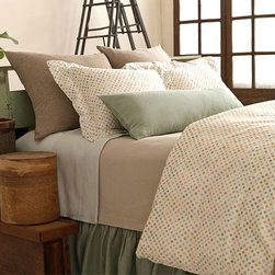 Watercolor Dots Duvet Set - Pine Cone Hill bedding and textiles are synonymous with quality, sophistication, vibrant colors and down-to-earth elegance. Part of the Urban Treehouse collection, the Watercolor duvet set sprinkled with multicolored paint drops, boasts a vibrant color pattern for a lively bedroom decor. Includes Chambray Linen Sham(s) in Sable. Full/Queen & King include (1) Chambray Boudoir Pillow (Ocean)