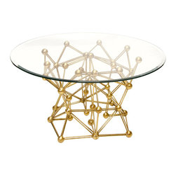 Worlds Away Molecule Round Coffee Table Glass, Gold Leaf, 36in. - Worlds Away Molecule Round Coffee Table Glass