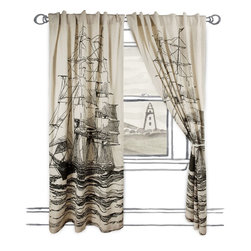 "Thomas Paul - Maritime Window Curtains - Dress your windows with these nautically-themed cotton and linen blend window panels, featuring oversized screen printed motifs. Each panel has been handmade with hidden tabs, reinforced hems and the highest quality fabric.   About the Artist: After graduating from NYC's famed FIT, Thomas Paul started his career as a colorist and designer at a silk mill. Eventually, he leveraged his knowledge of silk materials & print to launch a neckwear line of his own. Over time, Paul loved the idea of applying menswear print and design into a collection of home decor, which is what we see in his goods today. His background has embedded in him a passion for quality production techniques. Even as his brand grows, he continues to ensure all of his prints are hand screened - a slow, detailed process that results in each piece being a unique piece of artwork. Paul also pushes the envelope in terms of bold prints and hand ground materials.       ""My vision for the thomaspaul brand has always been about combining classic design motifs from different periods in textile design. Incorporating anything from an 18th century Damask pattern to a camouflage print. The unifying thread between so many different styles is to change the designs so they are updated for today. For me this means changing the scale, so they are always bold, and reducing down the colors and details, so most designs are reduced to two or three colors and become very flat, bold prints. I am always looking to vintage fabrics and motifs for inspiration and new ideas, but always try to update these to look good for today."" - Thomas Paul"
