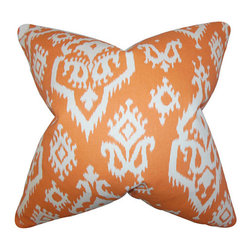 The Pillow Collection - Baraka Orange 18 x 18 Ikat Throw Pillow - - Pillows have hidden zippers for easy removal and cleaning  - Reversible pillow with same fabric on both sides  - Comes standard with a 5/95 feather blend pillow insert  - All four sides have a clean knife-edge finish  - Pillow insert is 19 x 19 to ensure a tight and generous fit  - Cover and insert made in the USA  - Spot clean and Dry cleaning recommended  - Fill Material: 5/95 down feather blend The Pillow Collection - P18-PP-RAJI-APPACHEORANGE-MACO