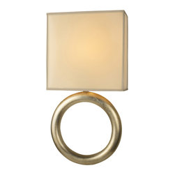 Fine Art Lamps - Portobello Road Sconce, 533450ST - With its bold gold base and square-shaped, hand-tailored silk shade, this piece is a hybrid of lamp and sconce. Mount it to the wall where you want to make a style statement while casting a warm glow.