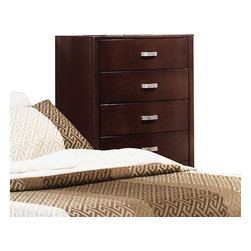 Homelegance - Homelegance Lyric 5 Drawer Chest in Dark Espresso - Taking the expected design elements of hard contemporary and putting a decidedly feminine curve into the mix makes the Lyric collection a unique addition to your new bedroom design. With each curve comes a new twist _ satin nickel hardware accents the glossy white or dark espresso finish, bow-front case pieces feature ball bearing drawer glides and compliment the padded sleigh headboard and footboard, while a round, contemporary mirror reflects the modern designs that you have selected. A final unique addition to the collection is the glass-topped night stand that furthers the contemporary feel.