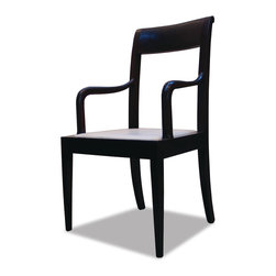 Isidro Chair - This sleek yet traditional chair is shown in espresso with cream inset leather seat.  It can also be used with a loose cushion.  Available in any finish or upholstery material.