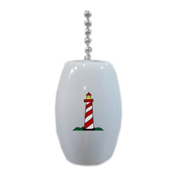 Carolina Hardware and Decor, LLC - Red Lighthouse Nautical Ceramic Fan Pull - 2 inch ceramic fan, light, or lamp pull with six inch chain included. Item(s) can be wiped clean with a soft damp cloth.  Great addition and nice finishing touch to any room.