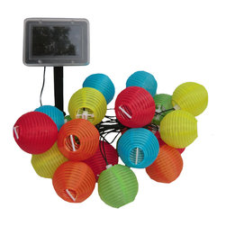 Smart Solar - Solar Light String - 20ct Chinese Lanterns - Ideal for decorating shrubs, umbrellas, doorways, pergolas, trees, etc. Powered by a separate solar panel allowing lights to be placed in shady areas. 1 colored LED inside each mini 2.75 in Chinese lantern made from polyester. Lanterns include 4 in each color: red, yellow, blue, orange and green. LED's supplied on 19 ft string, 7.8 in spacing with 6.5 ft lead wire from the first light to solar panel. Automatically illuminates during darkness. Up to 8 hours of light each night when fully charged. Replaceable, rechargeable Ni-MH battery. No wiring, simply install and enjoy. No operating costs.