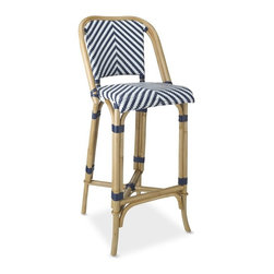 Parisian Bistro Woven Bar Stool - I love this Parisian bistro-inspired bar stool. The blue and white add a great touch of color, and the design is so fun.